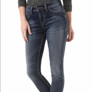 Silver skinny high rise jeans